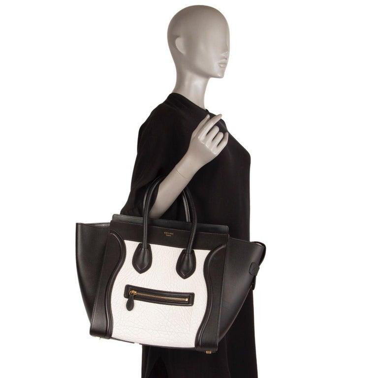 Women's CELINE black & white  leather MINI LUGGAGE Tote Shoulder Bag For Sale