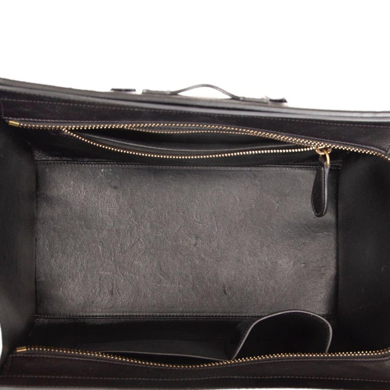 CELINE black & white  leather MINI LUGGAGE Tote Shoulder Bag For Sale 1