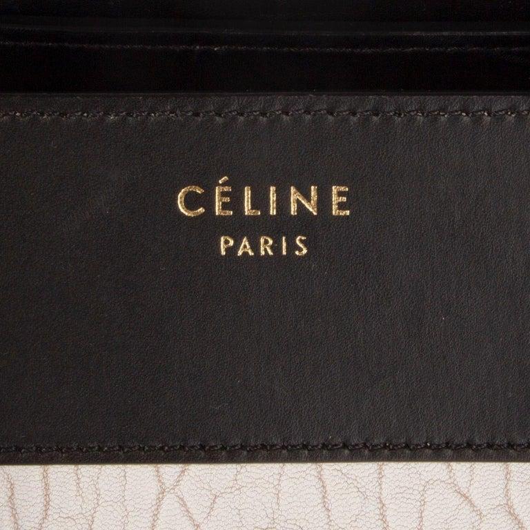 CELINE black & white  leather MINI LUGGAGE Tote Shoulder Bag For Sale 2