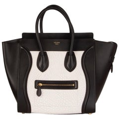 CELINE black & white  leather MINI LUGGAGE Tote Shoulder Bag