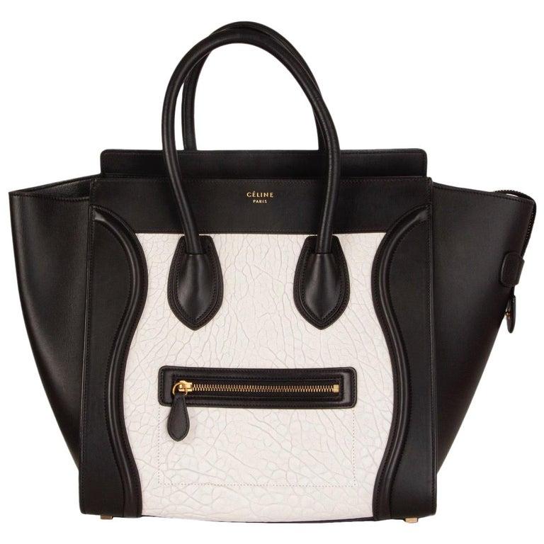 CELINE black & white  leather MINI LUGGAGE Tote Shoulder Bag For Sale