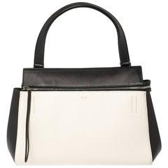 Céline Black/White Leather Small Edge Bag