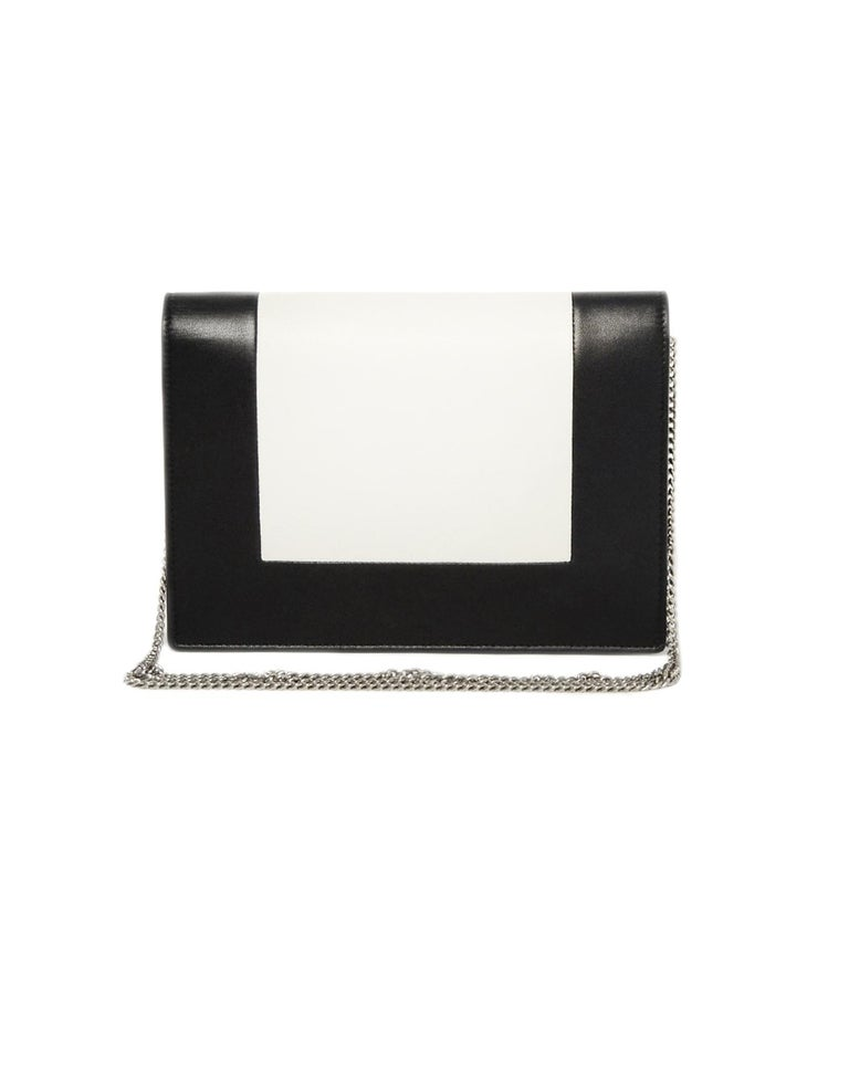 Celine Black White Smooth Lambskin Leather Frame Clutch On