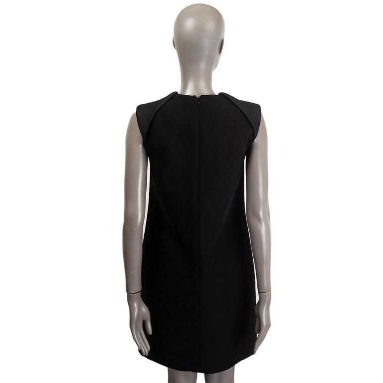 Black CELINE black wool blend PADDED SHOULDERS A-Line Dress 38 S For Sale