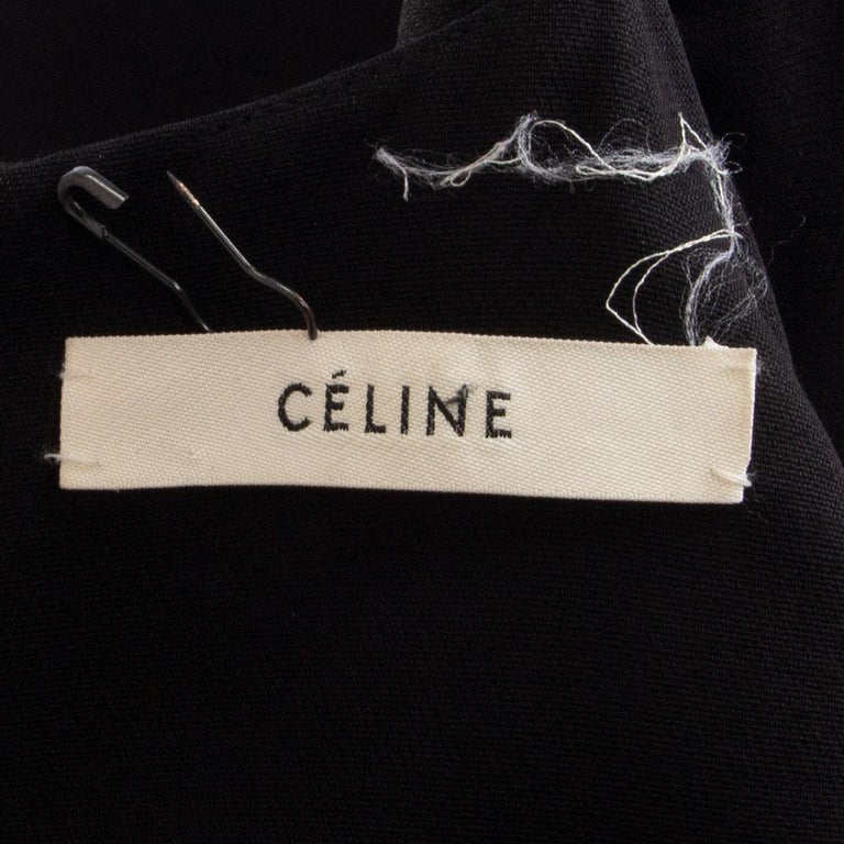 CELINE black wool blend PADDED SHOULDERS A-Line Dress 38 S In Excellent Condition For Sale In Zürich, CH
