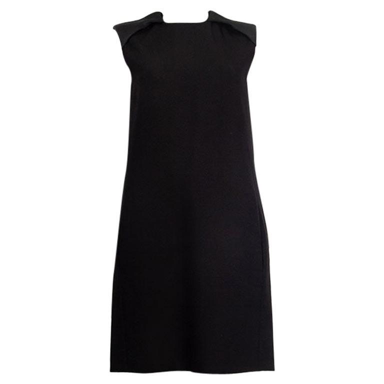 CELINE black wool blend PADDED SHOULDERS A-Line Dress 38 S For Sale