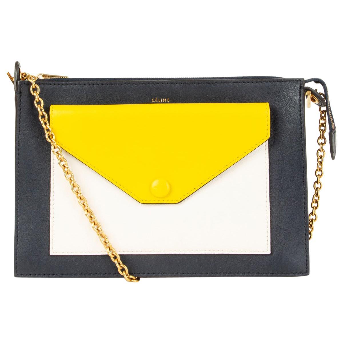 CELINE black yellow white leather POCKET MEDIUM CHAIN Clutch Bag