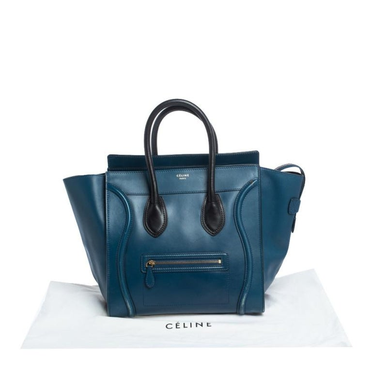 Celine Blue/Black Leather Mini Luggage Tote For Sale 11