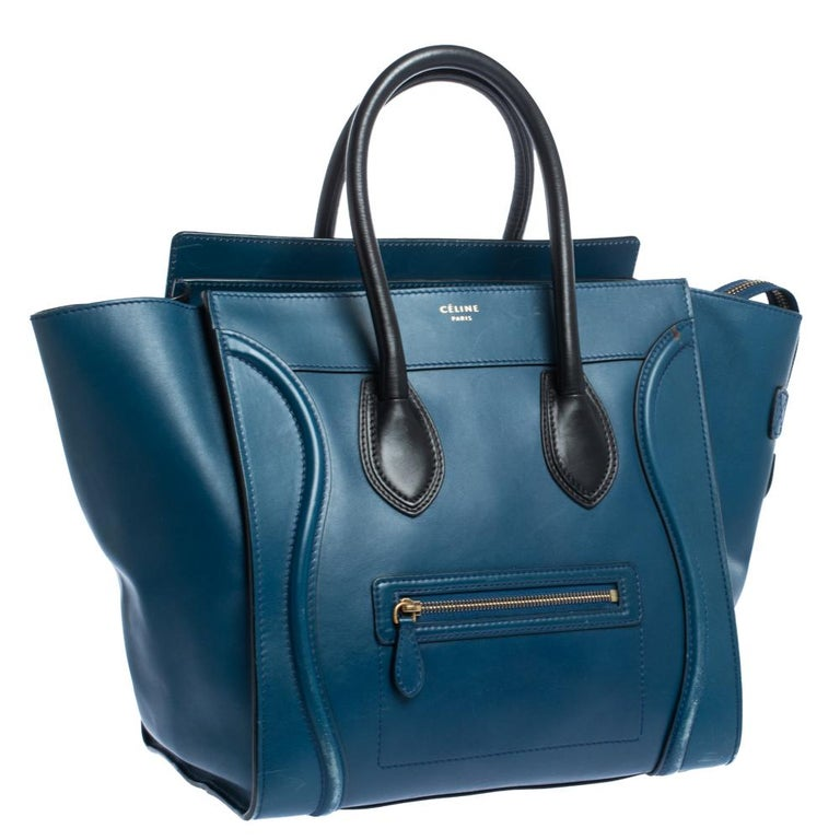 Celine Blue/Black Leather Mini Luggage Tote For Sale 1