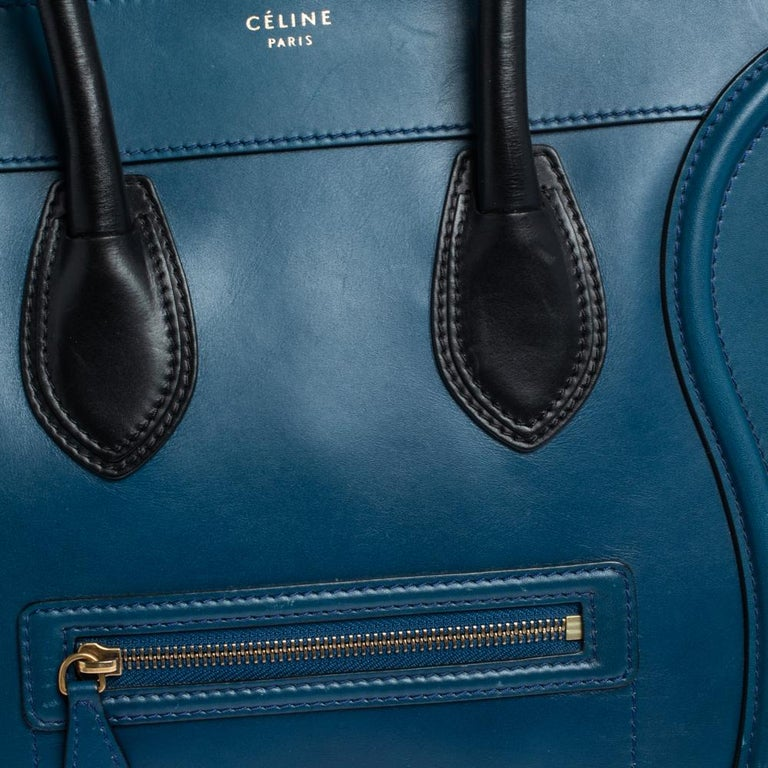 Celine Blue/Black Leather Mini Luggage Tote For Sale 6