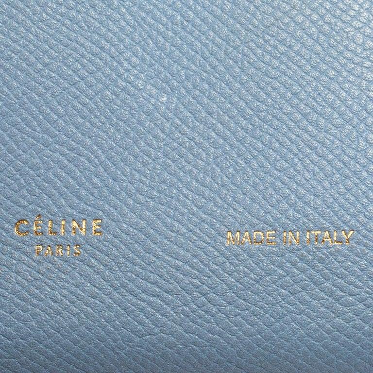 Celine Blue/Brown Leather Multifunction Strap Wallet For Sale 6