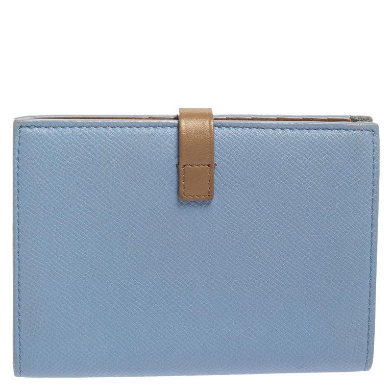 Celine Blue/Brown Leather Multifunction Strap Wallet In Good Condition For Sale In Dubai, Al Qouz 2