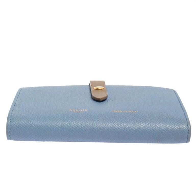 Women's Celine Blue/Brown Leather Multifunction Strap Wallet For Sale