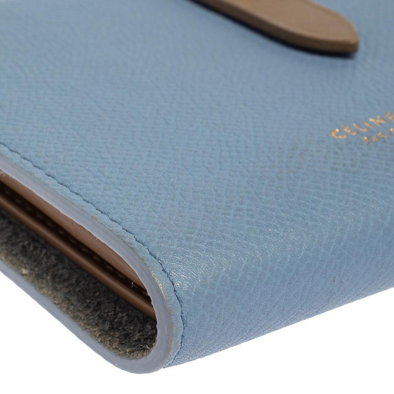 Celine Blue/Brown Leather Multifunction Strap Wallet For Sale 2