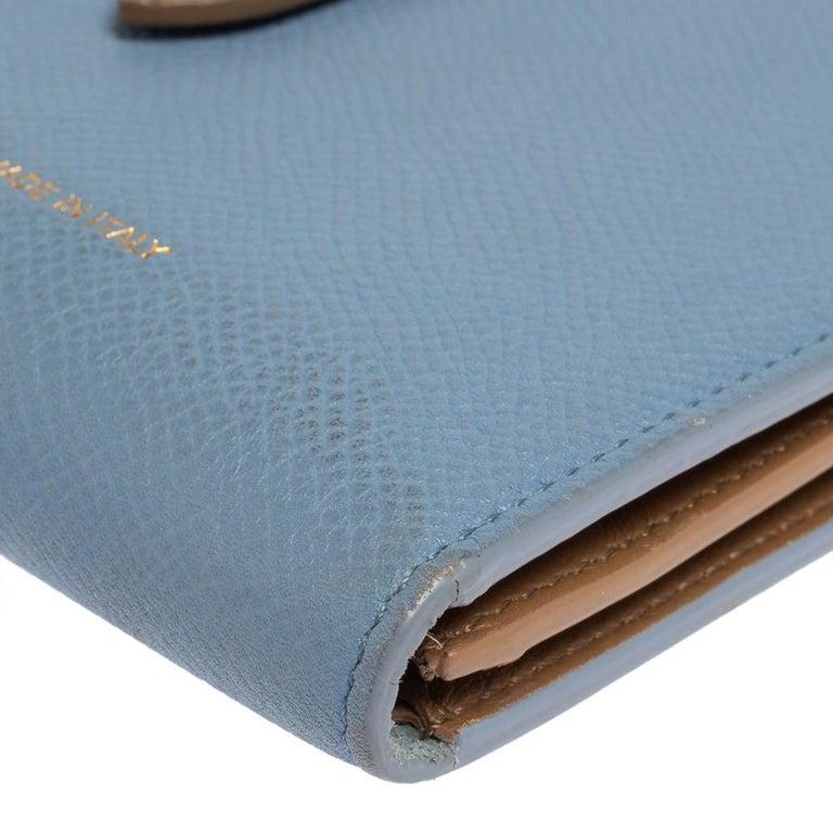 Celine Blue/Brown Leather Multifunction Strap Wallet For Sale 3