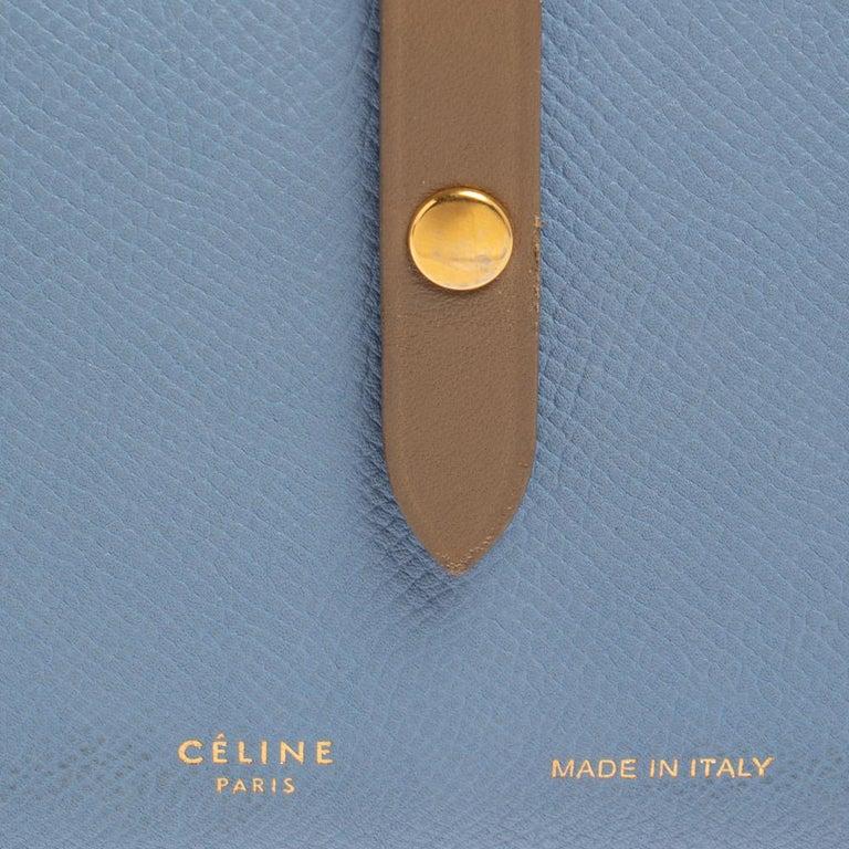 Celine Blue/Brown Leather Multifunction Strap Wallet For Sale 5