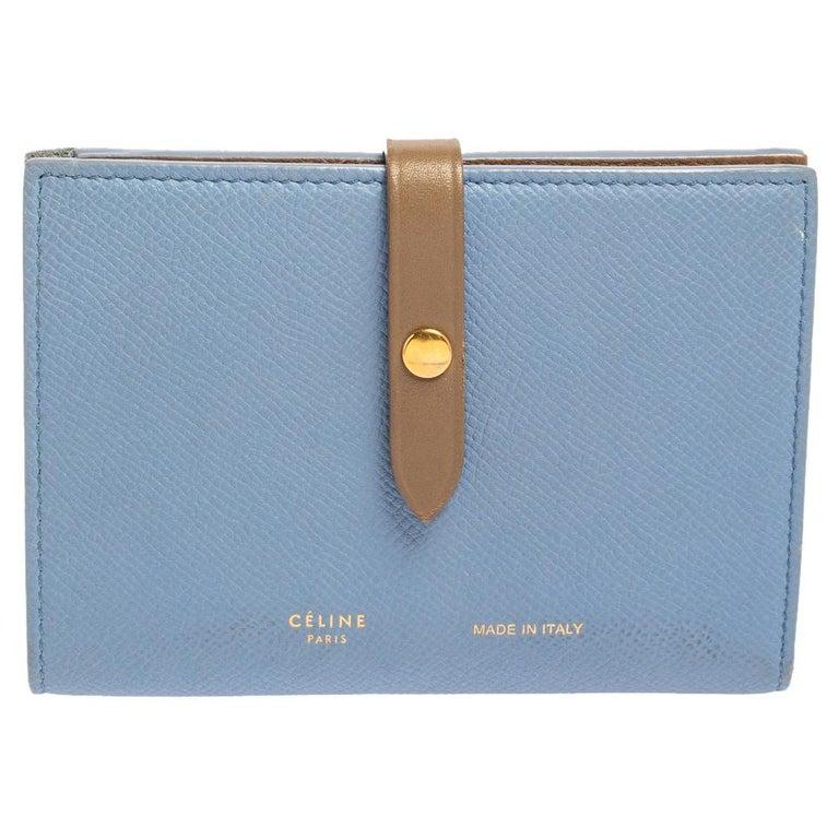 Celine Blue/Brown Leather Multifunction Strap Wallet For Sale