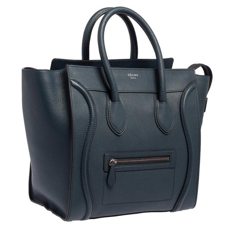 Celine Blue Bullhide Leather Mini Luggage Tote In Good Condition For Sale In Dubai, Al Qouz 2