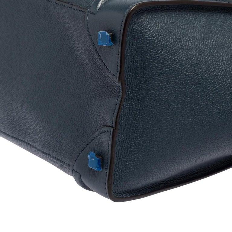 Celine Blue Bullhide Leather Mini Luggage Tote For Sale 1
