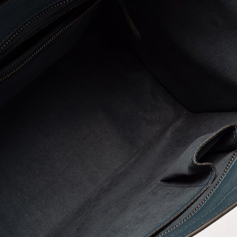 Celine Blue Bullhide Leather Mini Luggage Tote For Sale 4