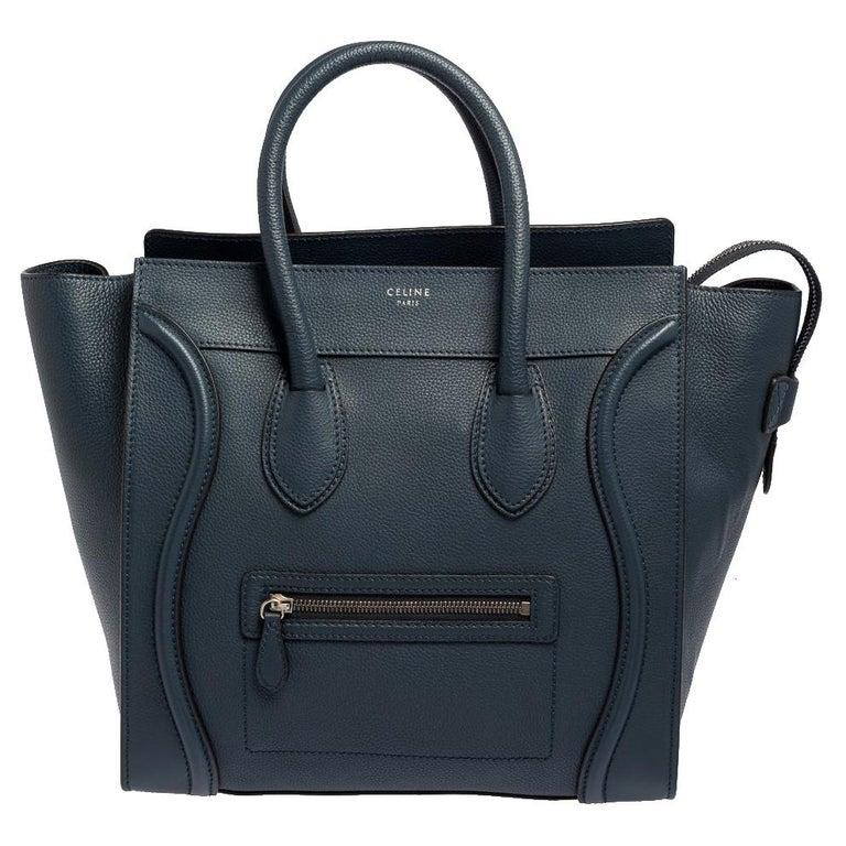 Celine Blue Bullhide Leather Mini Luggage Tote For Sale