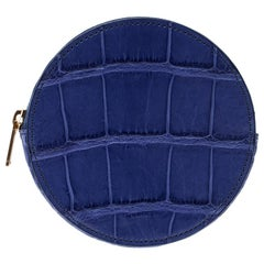 Celine Blue Croc Embossed Round Zip Coin Purse
