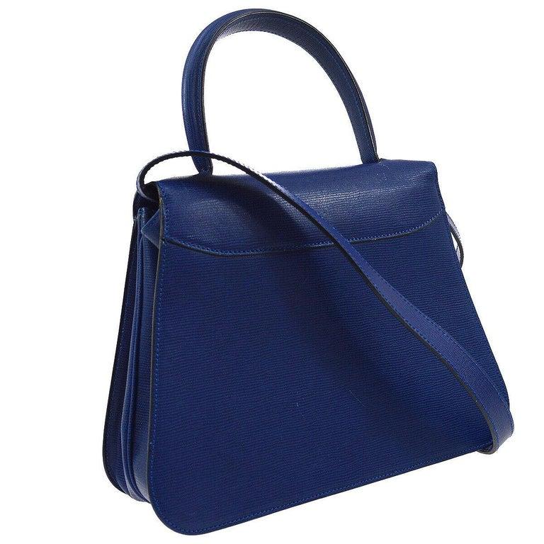 Women's Celine Blue Leather 2 in 1 Gold Top Handle Satchel Kelly Style Shoulder Bag For Sale