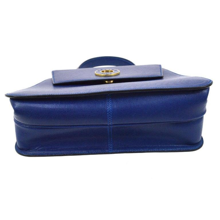 Celine Blue Leather 2 in 1 Gold Top Handle Satchel Kelly Style Shoulder Bag For Sale 1