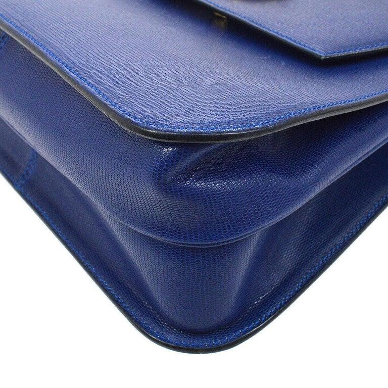 Celine Blue Leather 2 in 1 Gold Top Handle Satchel Kelly Style Shoulder Bag For Sale 2