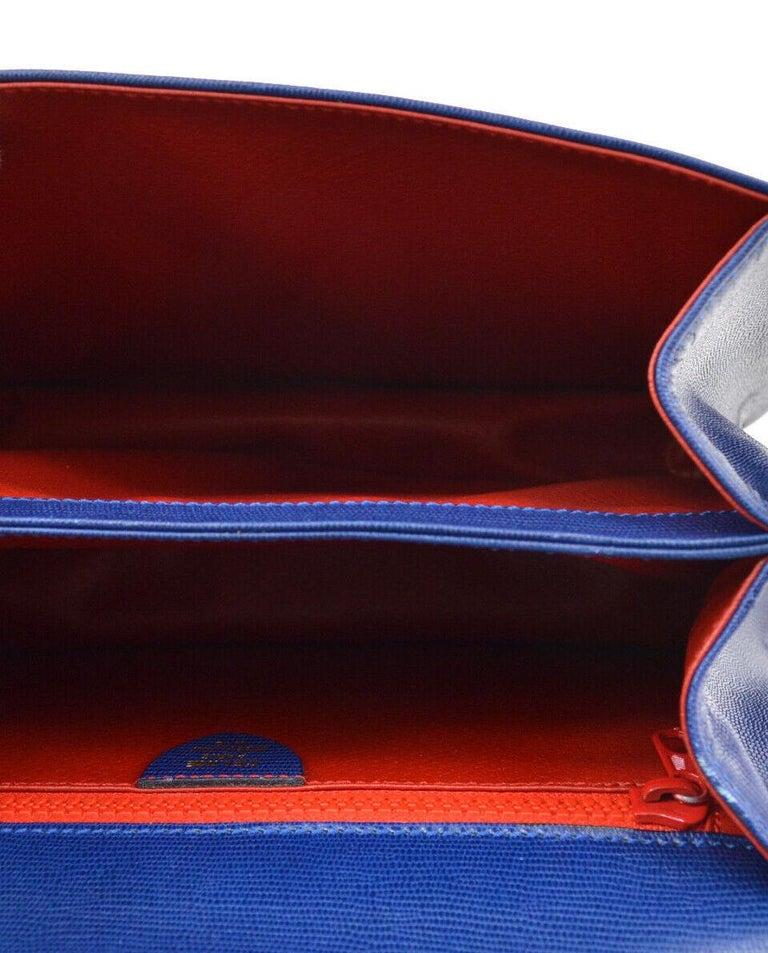 Celine Blue Leather 2 in 1 Gold Top Handle Satchel Kelly Style Shoulder Bag For Sale 3