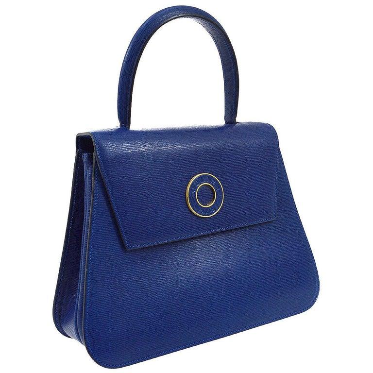 Celine Blue Leather 2 in 1 Gold Top Handle Satchel Kelly Style Shoulder Bag For Sale