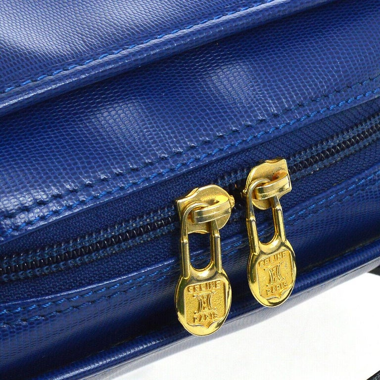 Celine Blue Leather 2 in 1 Gold Top Handle Satchel Speedy Shoulder Bag In Good Condition For Sale In Chicago, IL