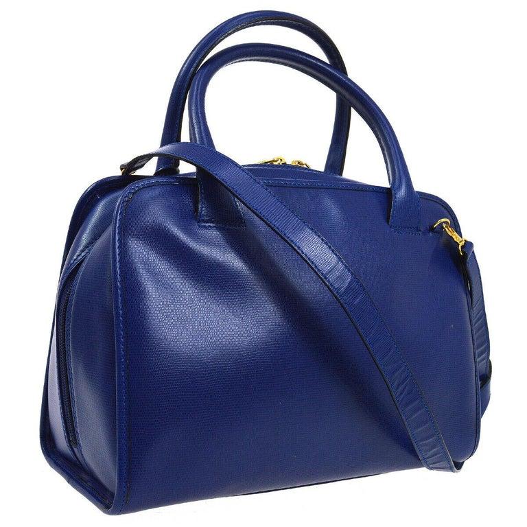 Women's Celine Blue Leather 2 in 1 Gold Top Handle Satchel Speedy Shoulder Bag For Sale