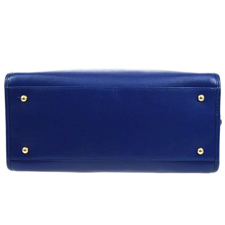 Celine Blue Leather 2 in 1 Gold Top Handle Satchel Speedy Shoulder Bag For Sale 1