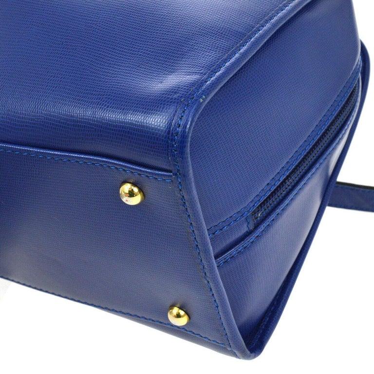 Celine Blue Leather 2 in 1 Gold Top Handle Satchel Speedy Shoulder Bag For Sale 2
