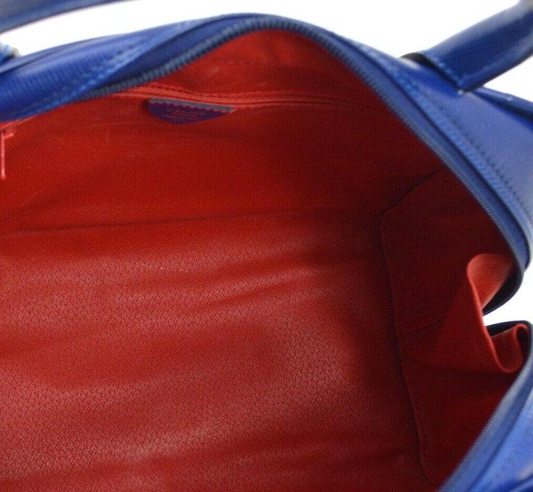 Celine Blue Leather 2 in 1 Gold Top Handle Satchel Speedy Shoulder Bag For Sale 3