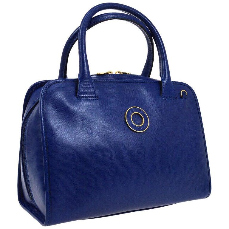 Celine Blue Leather 2 in 1 Gold Top Handle Satchel Speedy Shoulder Bag For Sale