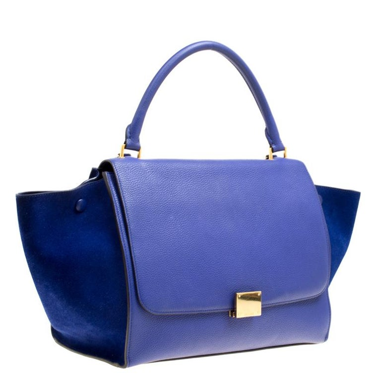 Women's Celine Blue Leather and Suede Medium Trapeze Bag For Sale