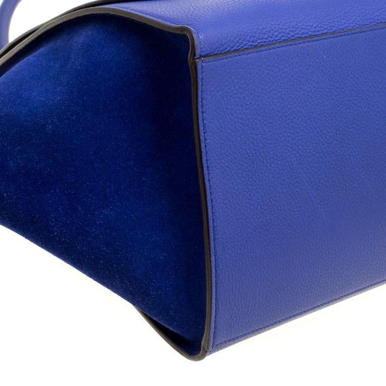 Celine Blue Leather and Suede Medium Trapeze Bag For Sale 3