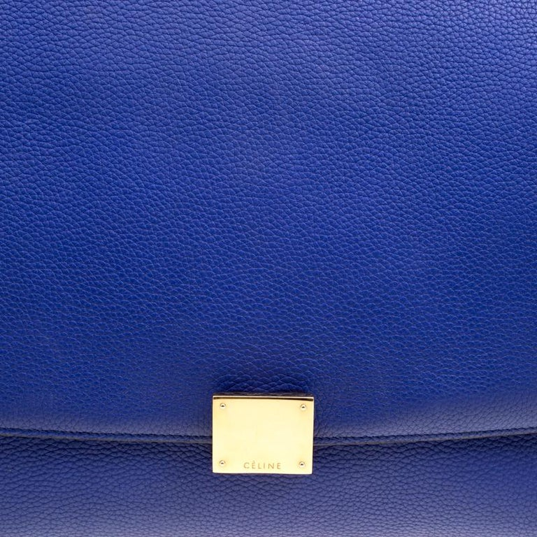 Celine Blue Leather and Suede Medium Trapeze Bag For Sale 5