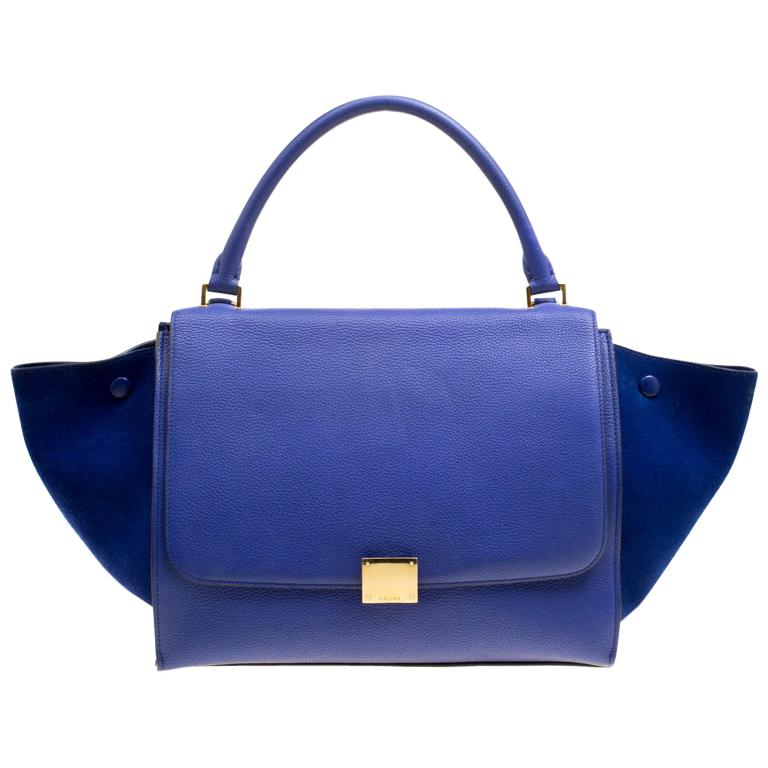 Celine Blue Leather and Suede Medium Trapeze Bag For Sale