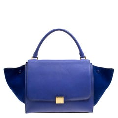 Celine Blue Leather and Suede Medium Trapeze Tote