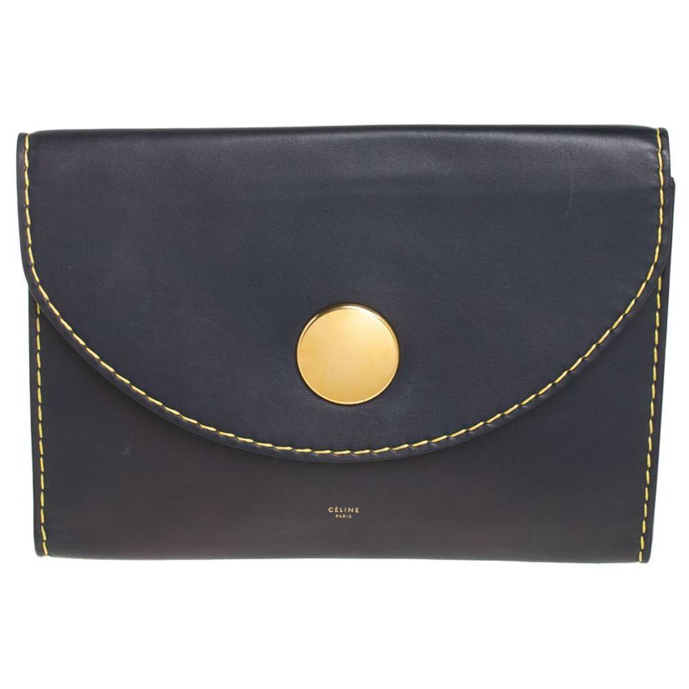 Celine Blue Leather Flap Clutch