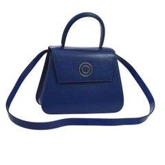 Celine Blue Leather Gold 2 in 1 Kelly Style Top Handle Satchel Shoulder Flap Bag