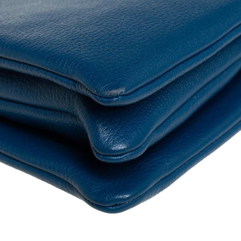 Céline Blue Leather Large Trio Crossbody Bag For Sale 6