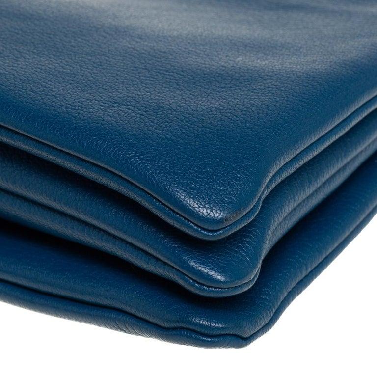 Céline Blue Leather Large Trio Crossbody Bag For Sale 7