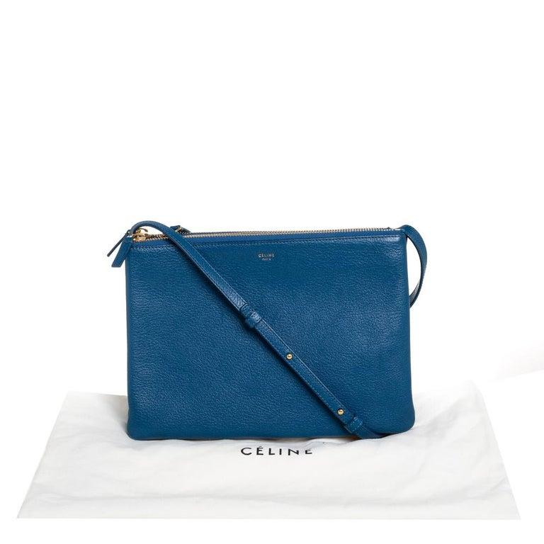 Céline Blue Leather Large Trio Crossbody Bag For Sale 8