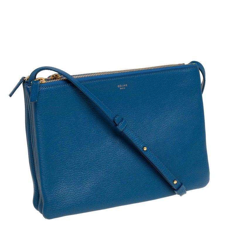Céline Blue Leather Large Trio Crossbody Bag In Good Condition For Sale In Dubai, Al Qouz 2