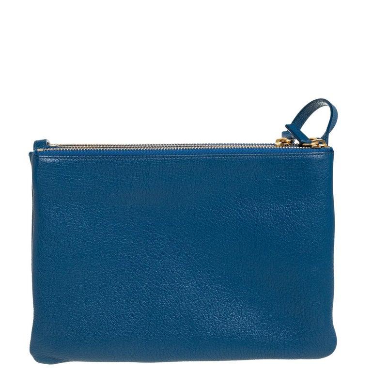 Women's Céline Blue Leather Large Trio Crossbody Bag For Sale