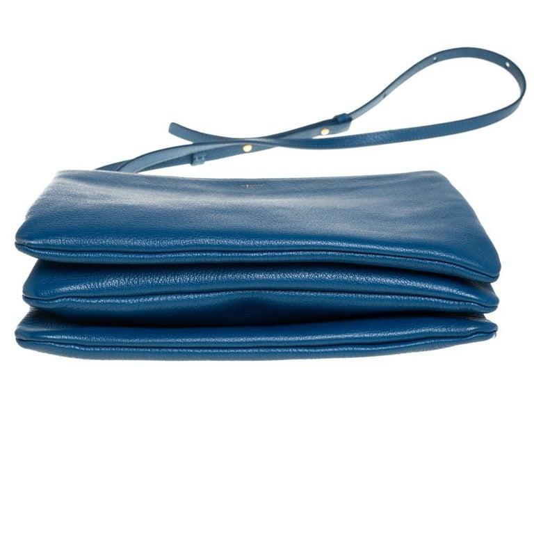 Céline Blue Leather Large Trio Crossbody Bag For Sale 1
